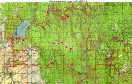 """Карта Национального парка """"Башкирия"""""""